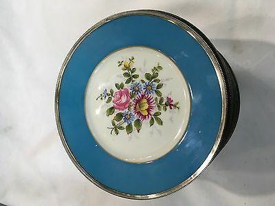 Hand Painted French Sevres Style  Plates With Continental Silver Rimm 15.8Cm