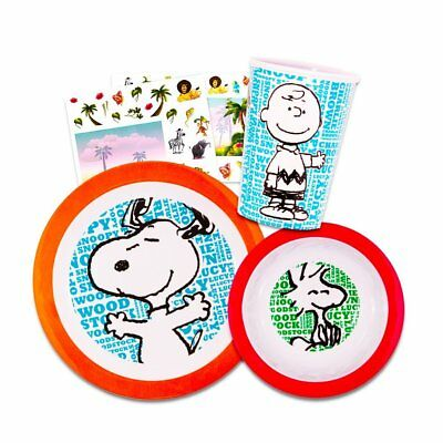 Peanuts Toddler Dinnerware Set - Plate, Bowl, Sippy Cup Bottle, Stickers Snoopy