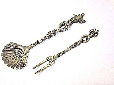 Small Ornate Antique Vintage Plated Shell Shape Spoon Figural  And Fork Lot Of 2