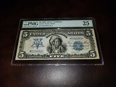 """1899 $5 Silver Certificate """"Chief"""" PMG Very Fine VF paper currency 25 """"Oncpapa"""""""