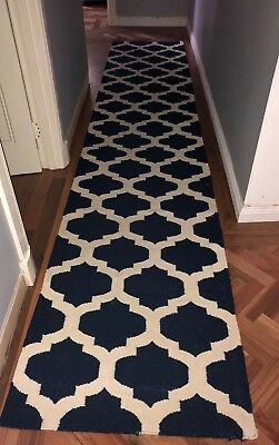 NAVY AND WHITE COTTON FLATWEAVE RUG RUNNER 80x415cm