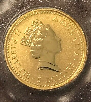 5 $ AUSTRALIA 1992 THE AUSTRALIAN NUGGET 1/20 oz. 9999 GOLD