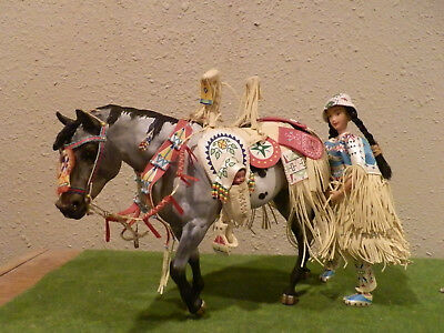 custom Breyer Indian pony appaloosa with tack & rider from the Leotie gift set