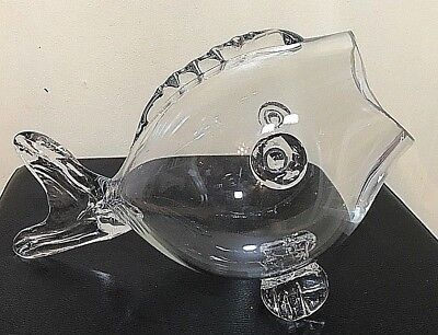 Handcrafted Open Mouth Fish Blown Art Glass Decorative Vase Clear