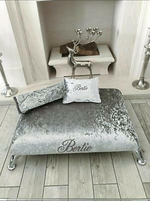 Personalised Memory Foam Crushed Velvet Pet Dog Lounge Day Bed  Size S - M - L