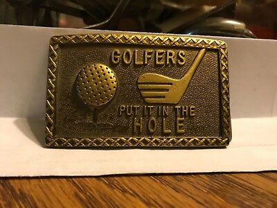 Vintage 1970s Solid Brass Belt Buckle Golfers Put It In The Hole