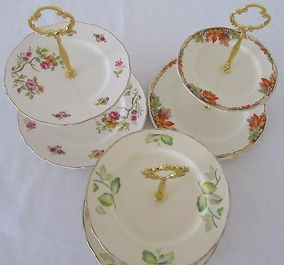 2 Tier Large Vintage CAKE STANDS English Fine China High Tea Cup Cakes Wedding