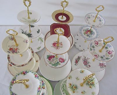 Large 3 Tier Vintage CAKE STANDS English Fine China High Tea Cup Cakes Wedding