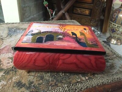 Ercolano Musical Box By Rosina Wachtmeister Made In Italy Red Wooden