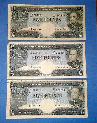 1954 Australia 3 x Coombs/Wilson £5 Five Pounds banknotes - low grades