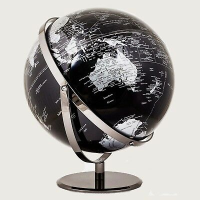 STUNNING HIGH QUALITY Double Axle World Globe Black Chrome Home Decor Gift 30cm