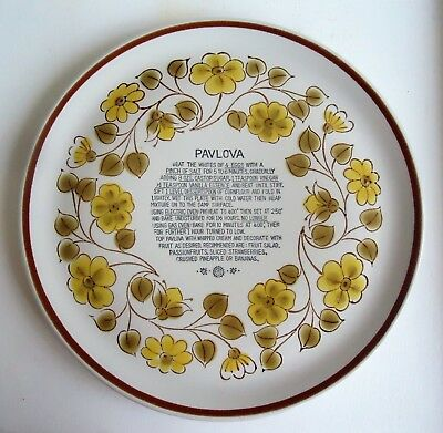 Vintage Stoneware Japan Oven Proof Pavlova Plate *Recipe *Olive & Yellow Floral
