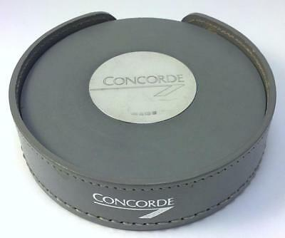 Set of 4 Vintage hallmarked Sterling Silver & Leather Concorde Coasters – 1988