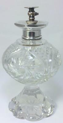 "Antique Sterling Silver-collared 6 ½ "" Cut Crystal Perfume Atomizer–c1915 (598g)"