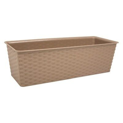 Taupe  Flower Box Large Plant Pot Trough Window Plants Rectangular Rattan Look