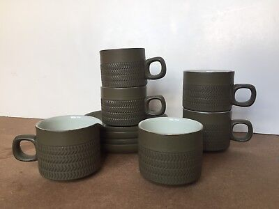 4 Retro Vintage Denby Pottery Chevron Cups & Saucers + Sugar Bowl And Creamer