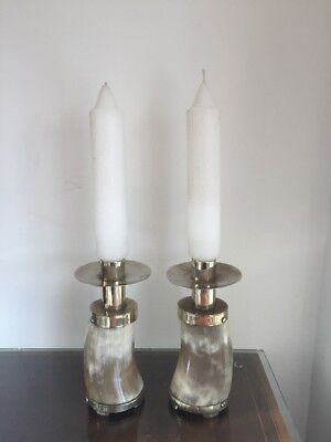 Superb Pair Antique Silver Plated & Horn Candle Sticks