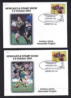 """Souvenir Cover: 2003 Newcastle Stamp Show   """"andrew Johns""""  Newcastle Knights"""
