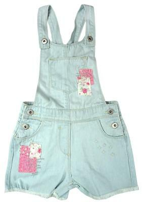 Girls Denim Patchwork Applique Bib Dungaree Shorts Playsuit Outfit 3 to 10 Years