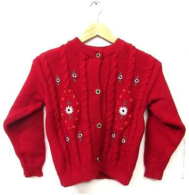 GIRLS VINTAGE 70s RED PRETTY FLORAL EMBROIDERED CARDIGAN AGE 11