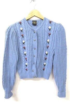 GIRLS ALPEN TRACHTEN VINTAGE 70s BLUE PRETTY FLORAL EMBROIDERED CARDIGAN AGE 13