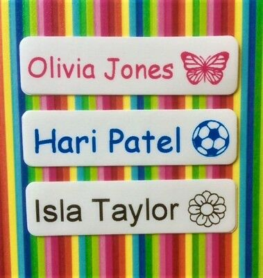 50, 75 or 100 Iron On Name Tags/ Name Labels/ Name Tapes with Picture
