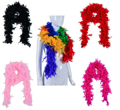 Womens 2M Feather Boa Fancy Dress Costume Accessory Burlesque Showgirl Dancer