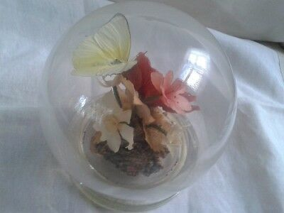 Michael R Curzon -Vintage -Sealed Real Preserved Flowers & Butterfly-Glass Dome