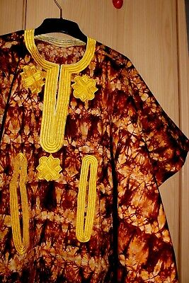 New Unique West African fully embroidered Danshiki top & tye dye Mens ~ Brown