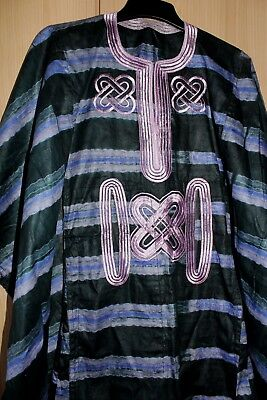 Classic West African fully embroidered Danshiki top & tye dye Unisex~Green Mix