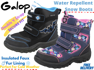 Boys Girls Kids Infant Snow Boots Waterproof Thermal Wellingtons Fur Winter Boot