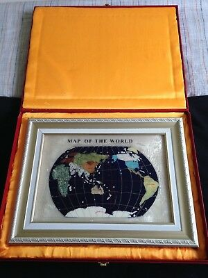 Gemstone Map Of The World - With Box - Excellent