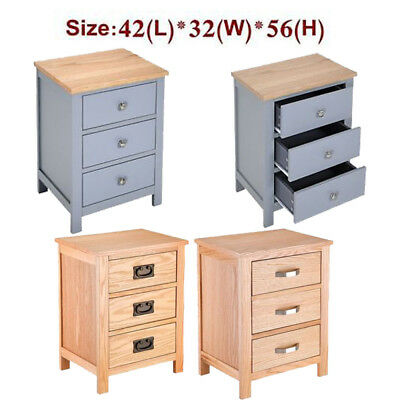 Solid Oak Bedside Table with Three 3 Drawers Bedroom Side Table Nightstand Grey
