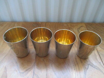 Vintage Graduated stacking hunting cups gilt lined possibly silver plate