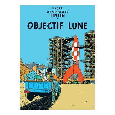 Affiche Offset Tintin Objectif Lune Moulinsart