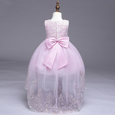 aad8cb27849 Kids Flower Girl Bow Princess Dress for Girls Party Wedding Bridesmaid Gown  O82