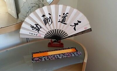 Chinese fan with display stand and case