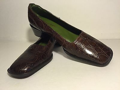 Donald J Pliner Women Shoe Croco Loafers Flat Casual Brown Leather Square Toe 9M