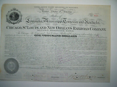 1877 Stuyvesant Fish Signed Twice Rr Baron Chicago St Louis Orleans Railroad
