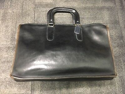 Vintage Coach Leather Briefcase In Black With Brown Trim Made In New York City