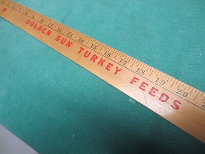 Vtg Wooden Advertising Yardstick-Golden Sun Milling Estherville IA Turkey Feed