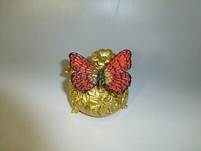 Vintage Mechanical Butterfly Musical Automaton Music Box Gilt Case (Watch Video)