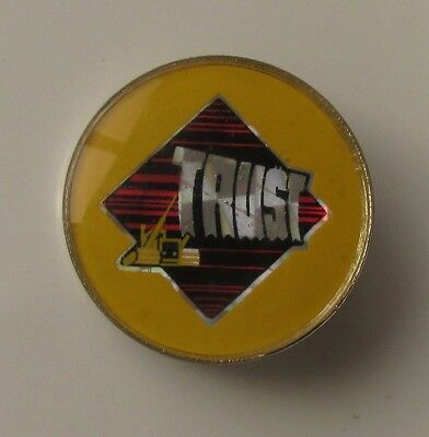 TRUST (FRENCH ROCK BAND) OLD CRYSTAL STYLE METAL PIN BADGE FROM THE 1980's