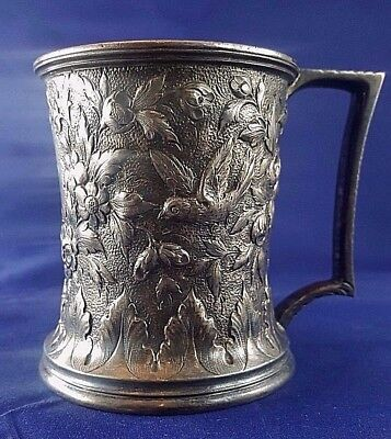 "S. Kirk & Sons Sterling Silver Repousse mug  Rare hallmark  ""S. KIRK & SONS"""