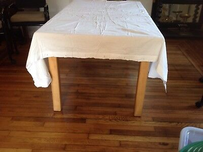 """Vintage Eyelet Embroidery Table Cloth Or Bed Cover, 67 X 67"""""""