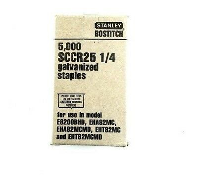 "STANLEY BOSTITCH SCCR25 1/4"" galvanized Staples, 5,000 per box"