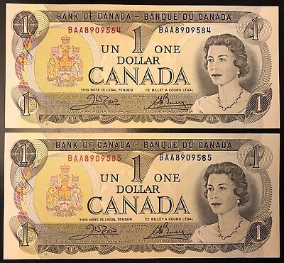 Lot of 2 1973 Canada One Dollar Bill BAA8909584-55 In Sequence