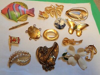Vintage LOT of Delft Enamel Rhinestone Faux Pearl  Pins Some Signed
