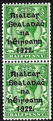 EIRE IRELAND 1922 ½d green SG 26 coil pair one mounted one unmounted mint