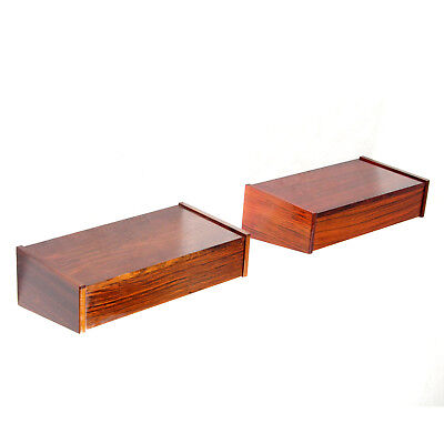 2 Retro Vintage Danish Rosewood Floating Bedside Tables Wall Cabinets 60s 70s